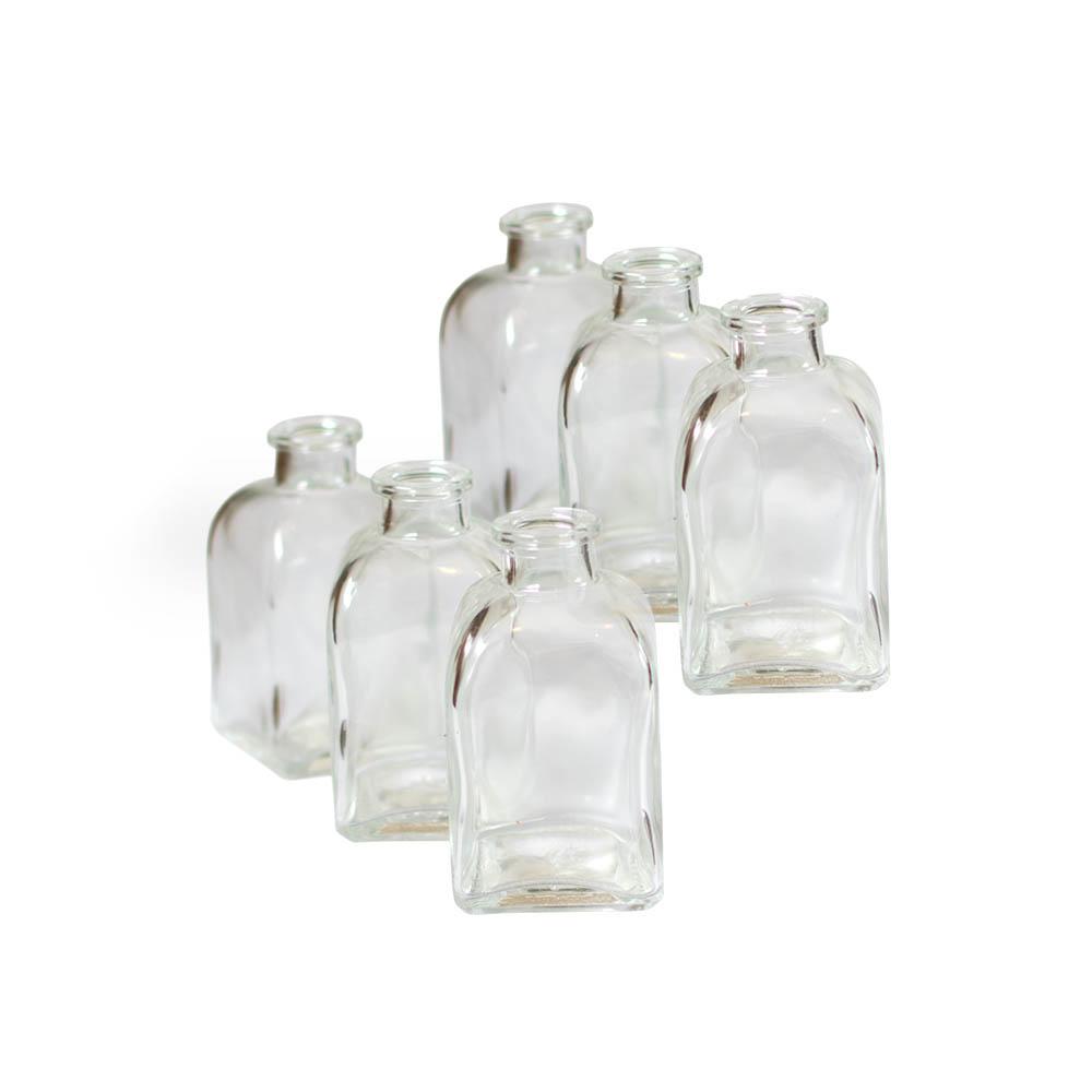 "3.75"" Clear Glass Bottles, Rectangular Bud Vases, Food Sa..."