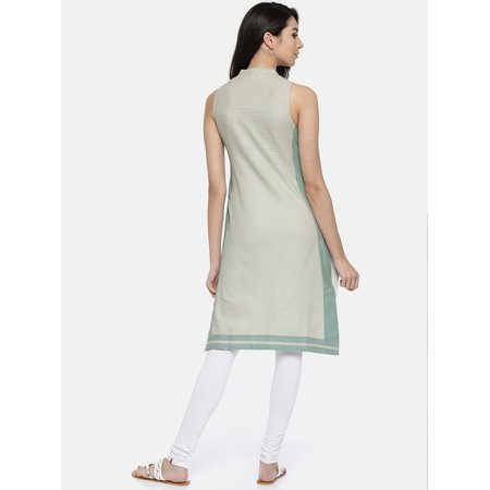 all about you from Deepika Padukone Women Grey Solid Straight Kurta - image 2 of 4