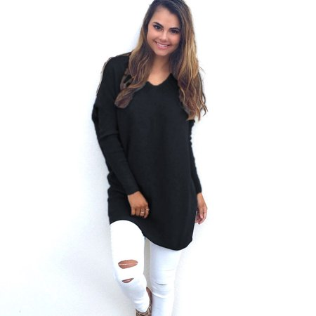 9130aad61 Womens V-Neck Chunky Knitted Oversized Baggy Sweater Winter Loose Batwing  Long Sleeve Jumper Tops