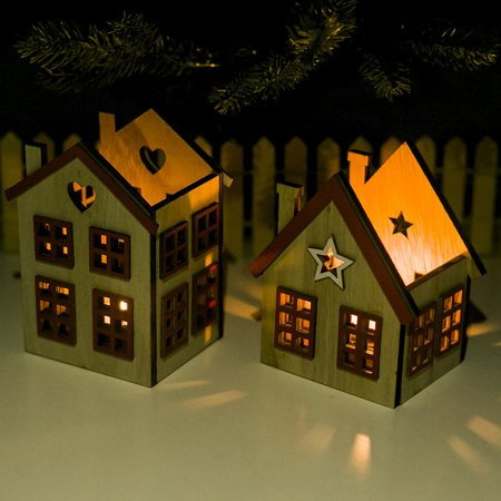 Festival Wood Ornaments House Candle Holder Festival Restaurant Decorations - image 3 de 6