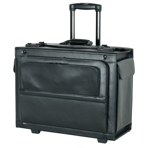 "Netpack 18"" Leather Rolling Laptop Catalog Case"