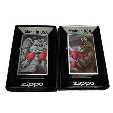 Zippo Custom Lighter - Set of 2 Lighters Democratic Symbol Donkey and Republican Elephant Boxing - Regular Brush Finish Chrome
