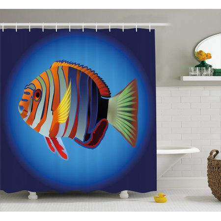 Marine Shower Curtain, Tropical Exotic Ocean Sea Fish with Colorful Fins and Underwater Nautical Image, Fabric Bathroom Set with Hooks, 69W X 75L Inches Long, Multicolor, by Ambesonne