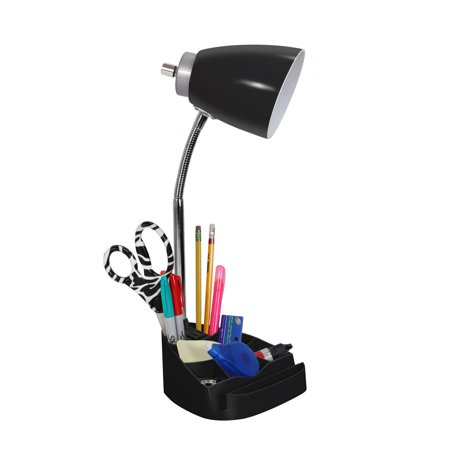 Limelights Gooseneck Organizer Desk Lamp with iPad Tablet Stand Book Holder and Charging Outlet, Black - image 1 of 3