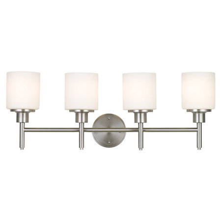 - Design House 556217 Aubrey 4-Light Vanity Light, Frosted Glass, Satin Nickel