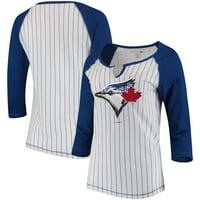 Women's 5th & Ocean by New Era White/Royal Toronto Blue Jays Pinstripe 3/4-Sleeve Notch Neck Raglan T-Shirt