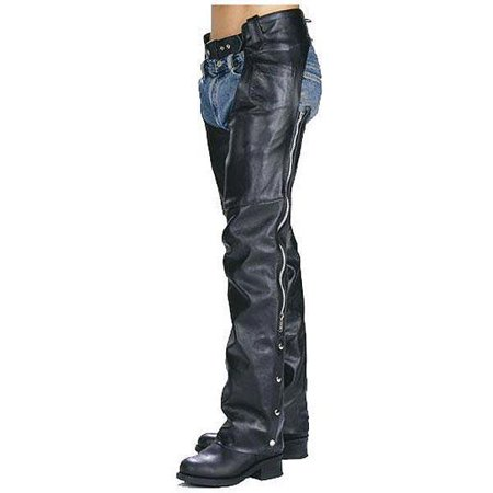 Xelement Xelement 7550 'Classic' Black Unisex Leather Motorcycle Chaps Black - Mens Classic Chaps