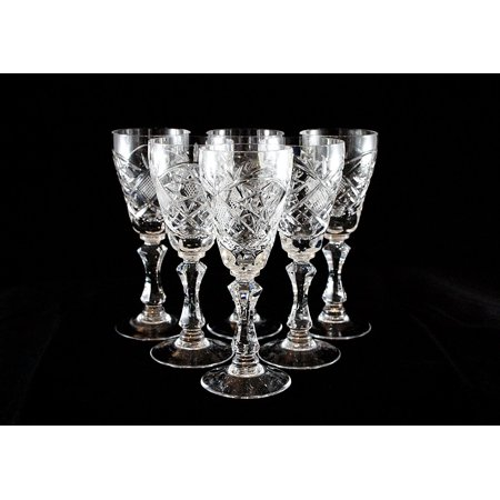 - SET of 6 Russian CUT Crystal Shot Glasses on a Long Stem 60ml/2oz Hand Made