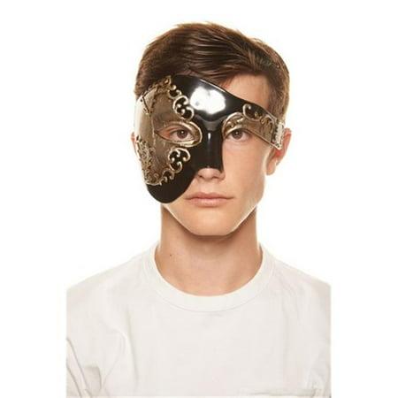 Kayso PP004 Phantom of the Opera Inspired Gold & Black Half Face Plastic Masquerade Mask