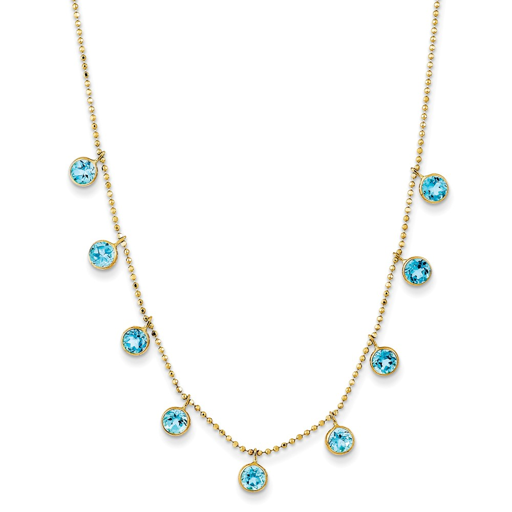 """14K Yellow Gold Blue Topaz with 2in Ext. Necklace -16"""" (18in x 5mm) by"""