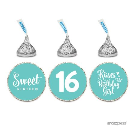 Chocolate Drop Labels Trio, Fits Hershey's Kisses, Sweet 16 Birthday, Diamond Blue, 216-Pack