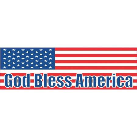 State Flag Bumper Sticker - 10x3 God Bless America United States Flag Bumper Sticker Decal Stickers Decals