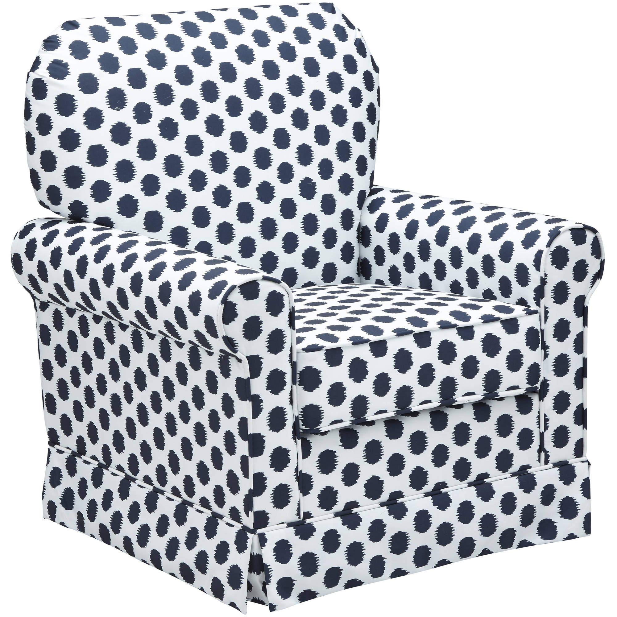 Storkcraft Polka Dot Upholstered Swivel Glider White and Navy Blue