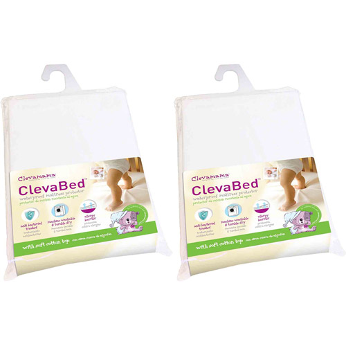 Clevamama ClevaBed Brushed Cotton Waterproof Fitted Mattress Protector, 2-Pack, Crib