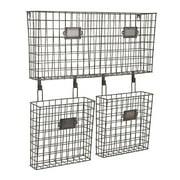 """23.5"""" Modern Argenio Wire-Framed Hanging Basket Wall Organizer Trio"""