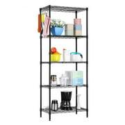 "5 Tier Black Epoxy Steel Wire Shelving Unit and Storage Racks, Metal Shelves for Garage Metal Storage Shelving, Kitchen Rack 21.25"" x 11.42"" x 59.06"", Black, S10125"