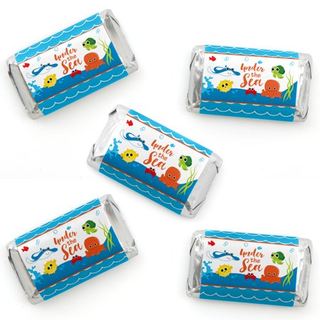 Under The Sea Critters - Mini Candy Bar Wrapper Stickers - Baby Shower or Birthday Party Small Favors - 40 Count - Under The Sea Quinceanera Ideas
