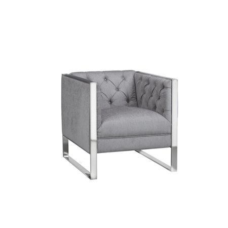 Prime Uptown Club Blossom Tufted Velvet Or Faux Leather Accent Chair Grey Machost Co Dining Chair Design Ideas Machostcouk