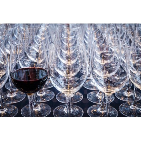 USA, Washington State, Seattle. Red wine in row of glasses. Print Wall Art By Richard Duval