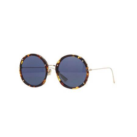 Christian Dior Fashion Sunglasses - Christian Dior Hypnotic 1 Round Women's Sunglasses 56mm (Y67A9 Yellow Havana/ Blue)