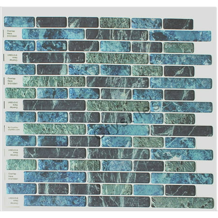 Turquoise Vinyl - Crystiles Peel and Stick Self-Adhesive Stick-On Vinyl Wall Tile Backsplash, Blue, Green, Turquoise and Black Marble, Item# 91010841, 10 X 10 Each, 6 Sheets Pack