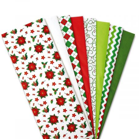 Christmas Tissue Value Pack- Prints and Solids, Set of 80 Sheets
