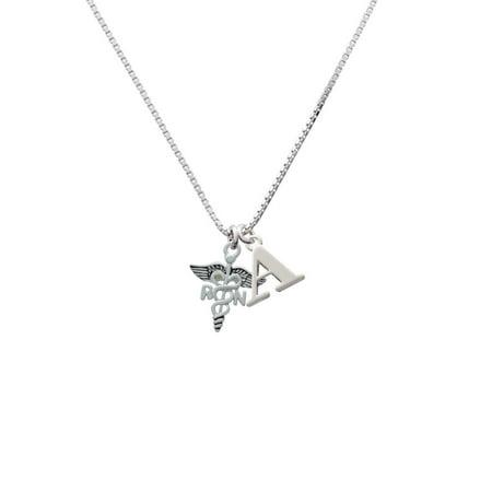Silvertone Registered Nurse Caduceus - A - Initial Necklace