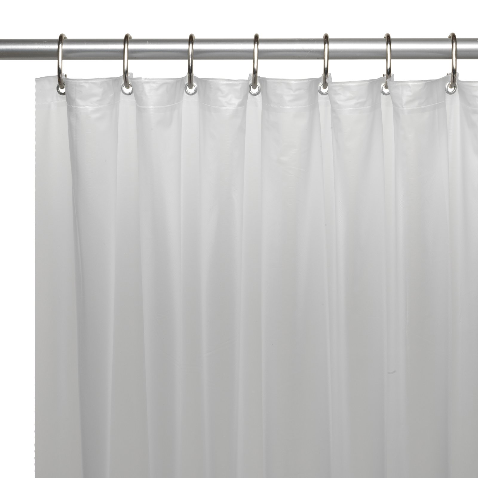 Extra Long 72 X 78 Mildew Resistant 10 Gauge Vinyl Shower Curtain Liner W Metal Grommets And Reinforced Mesh Header In Frosty Clear