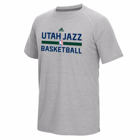 Utah Jazz Nba Adidas Grey Official   On Court   Graphic Climalite Performance Short Sleeve Ultimate  T Shirt For Men