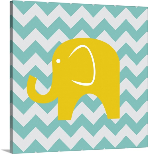 Great BIG Canvas | N Harbick Premium Thick-Wrap Canvas entitled Chevron Elephant