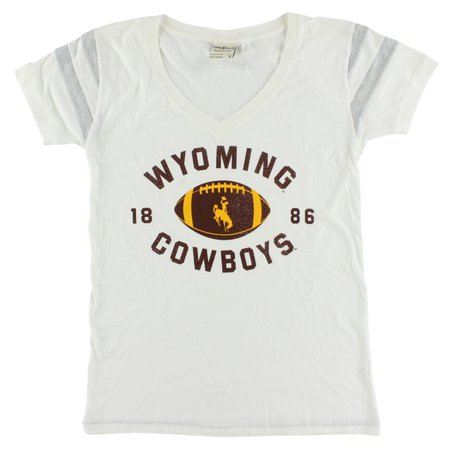 - Camp David Womens Wyoming Cowboys College Kailey V Neck T Shirt White