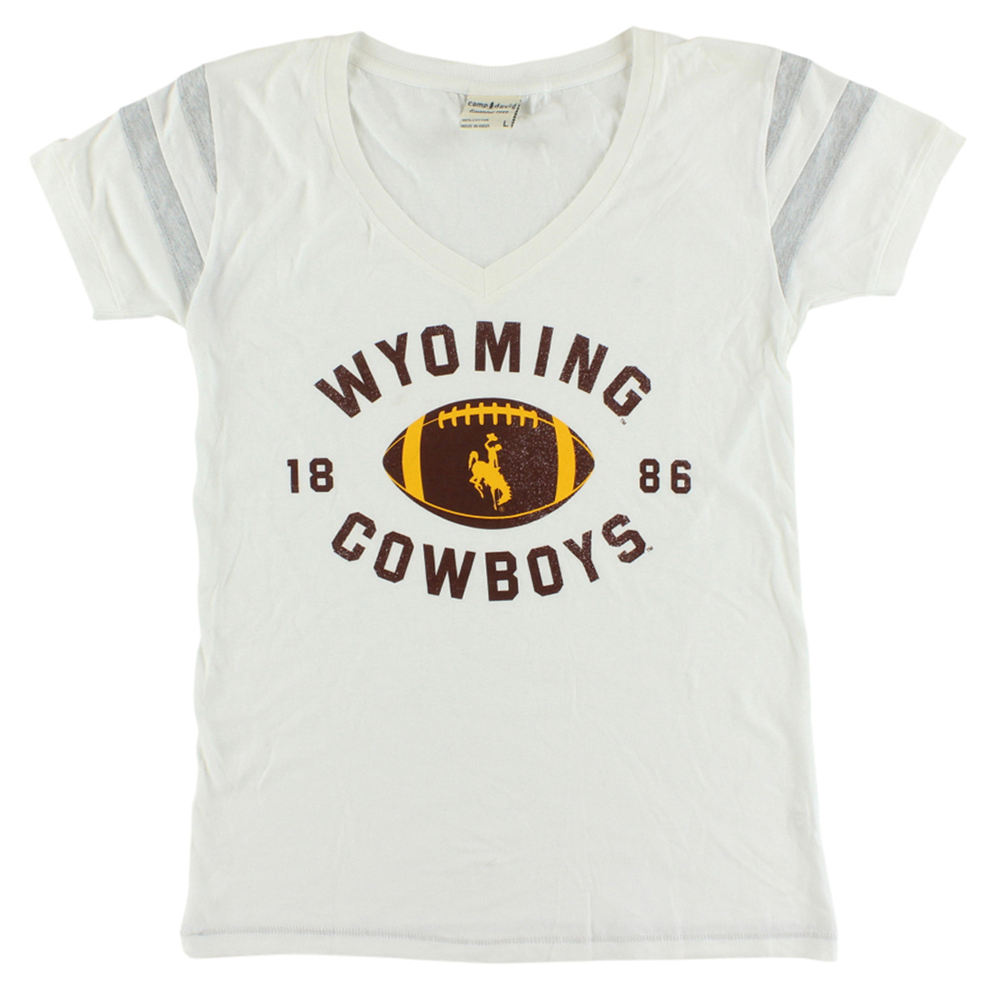 Camp David Womens Wyoming Cowboys College Kailey V Neck T Shirt White