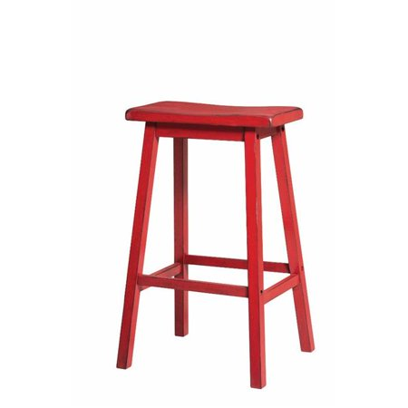 Wooden Bar Stool, Antique Red - Set of 2 ()