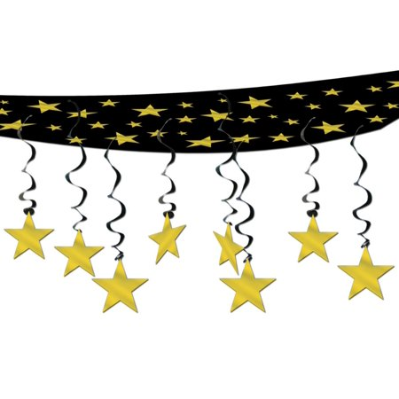 Pack of 6 New Year Hollywood Theme Party Gold Stars Hanging Ceiling Decorations 12' - Classic Hollywood Theme