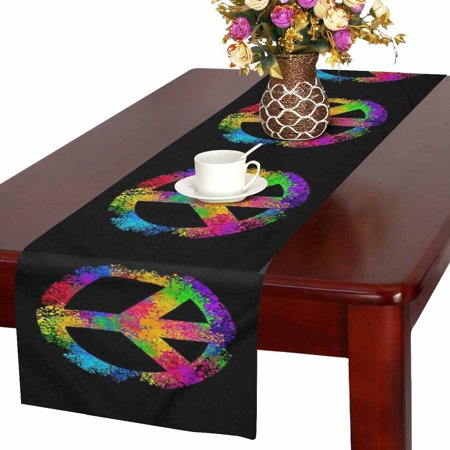 MKHERT Cool Peace Sign Symbols Table Runner Home Decor for Wedding Party Banquet Decoration 16x72 Inch - Peace Sign Decorating Ideas