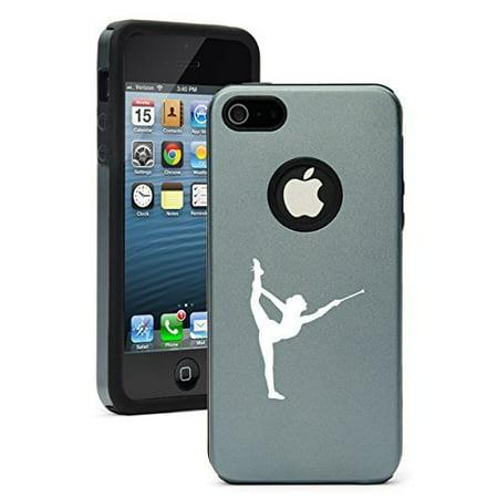 Apple iPhone 5c Shockproof AS Aluminum & Silicone Hard Soft Case Cover Female Gymnast Twirling Baton Gymnastics (Silver Grey),Daylor ()