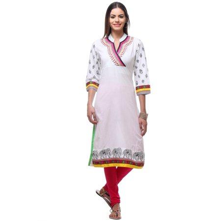 fc219a1eb1a2d In-Sattva Women s Indian White Elegant Elephant Print Kurta Tunic White