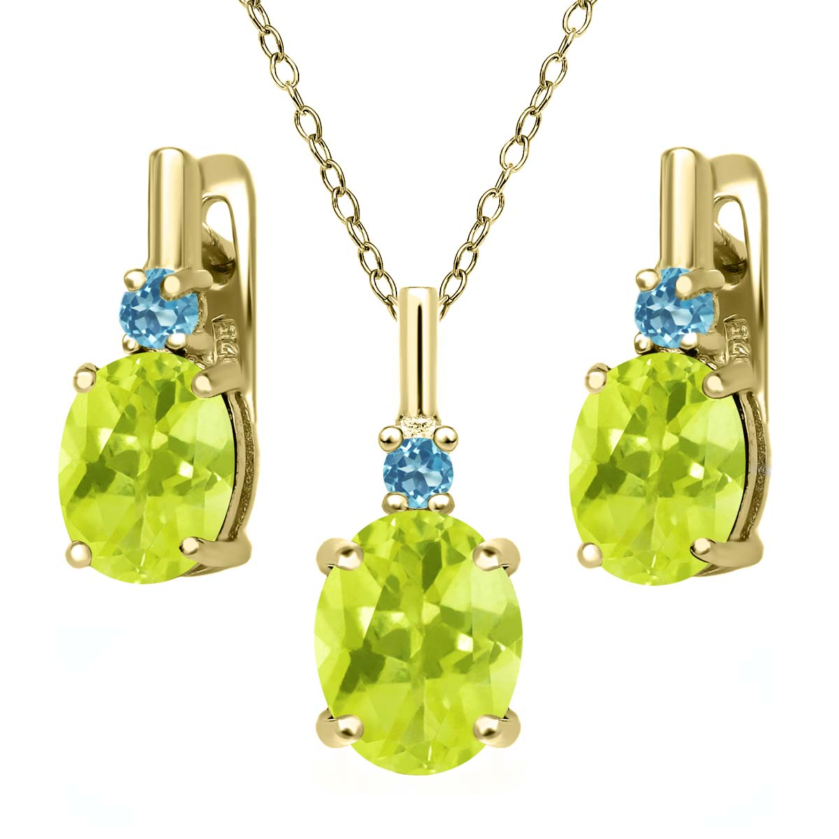 5.03 Ct Yellow Lemon Quartz 18K Yellow Gold Plated Silver Pendant Earrings Set by