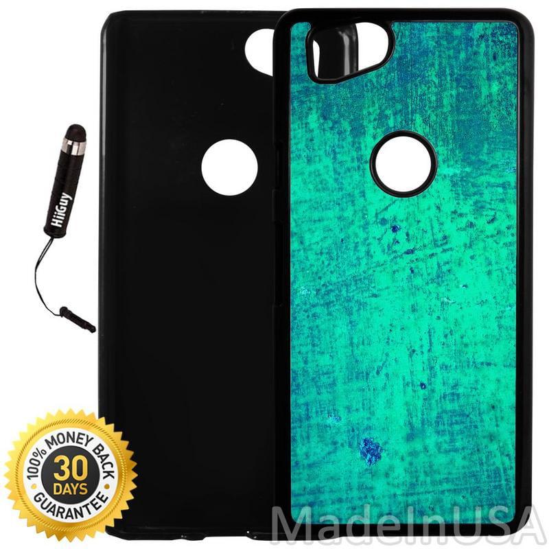 Custom Google Pixel 2 Case (Classic Green Metal) Plastic Black Cover Ultra Slim | Lightweight | Includes Stylus Pen by Innosub