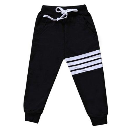 Toddler Baby Boys Elastic Waist Striped Sweatpants Kids Jogger Sports Pants