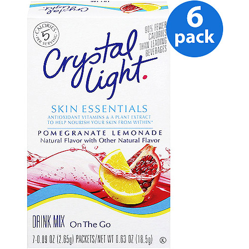 Crystal Light On The Go Skin Essentials Pomegranate Lemonade Drink Mix, 7 ct (Pack of 6)