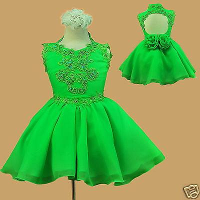 INFANT & GIRL PAGEANT FORMAL PARTY FLOWER GIRL SHORT DRESS GREEN 1 2 3 4 5 6 7](Spanish Dresses)