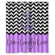 HelloDecor Hipster Quotes Live Love Laugh in Purple Colorblock Chevron with Anchor Shower Curtain Polyester Fabric Bathroom Decorative Curtain Size 60x72 Inches