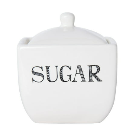 Fluted Sugar Bowl - Elements Classic Stoneware Sugar Bowl With Sentiment Decals