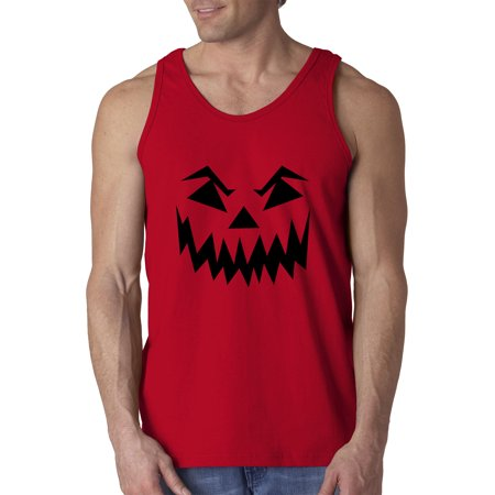 Trendy USA 972 - Men's Tank-Top Scary Halloween Pumpkin Face Jack O Lantern Large Red