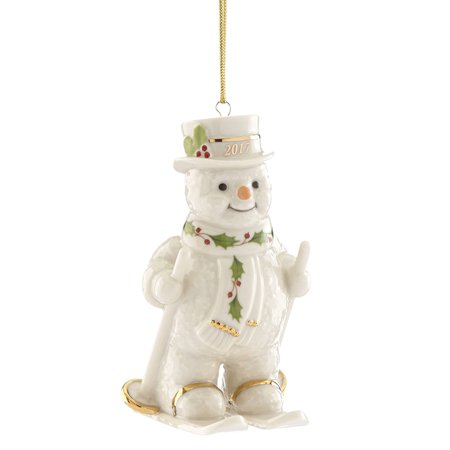 2017 lenox happy holly day fresh powder snowman skiing christmas ornament 869900 - Lenox Christmas Decorations