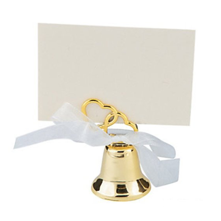 Gold Bell Place Card Holders - Gold Wedding Bell Place Card Holders, dozen