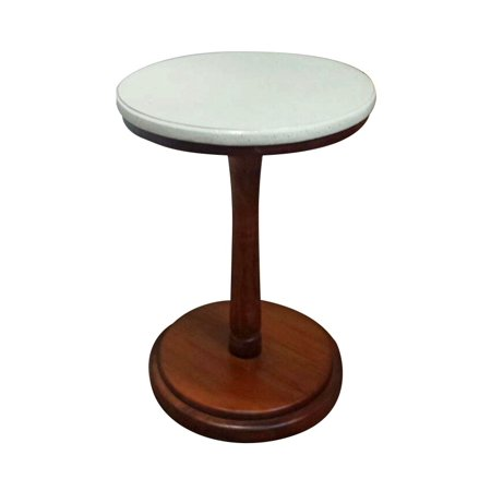- Mahogany wood round pedestal table with white marble terrazzo top round-table-marb-ter-mah