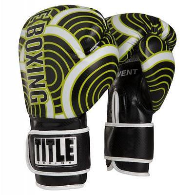 TITLE INFUSED FOAM ENGAGE BOXING GLOVES Black/Lime 14 oz