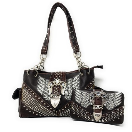 Premium Western Rhinestone Studded Angel Wings Buckle Shoulder Handbag Purse With Matching Wallet In Multi Color